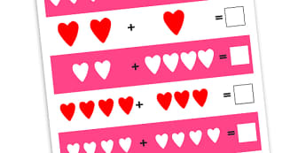 Heart Addition Worksheets - worksheets, worksheet, work sheet, sheets, heart, valentines, valentine, valentines day addition, valentines day numeracy, numeracy, adding, addition, activity, writing frame, filling in, writing activity