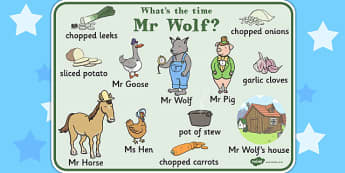 Word Mat to Support Teaching on What's The Time, Mr Wolf? - word mat, time, wolf, mat
