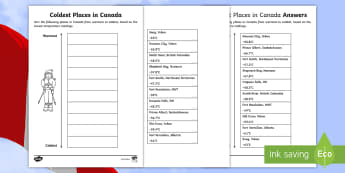 Coldest Places in Canada Sorting Activity - Canada, Social Studies, Primary, Grade 3, Geography, Mathematics, Measurement, Temperature, Ordering