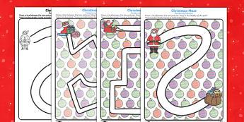 Christmas Pencil Control Path Activity Sheets English/Polish - Christmas Pencil Control Path Worksheets - christmas, pencil control, pencil control worksheets, fin