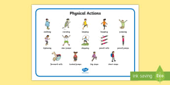 PE Physical Actions Word Mat  -  PE, action, actions, physical actions, flashcard, moves, visual aid, Physical education, prompt, PE
