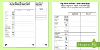 * NEW * My New School Treasure Hunt Activity - English / Spanish  - EAL, My New School Treasure Hunt - new school, treasure hunt, hunt,Spanish-translation