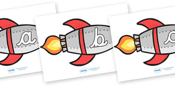 A-Z Alphabet on Rockets (lowercase cursive) - Rocket, topic, space, Alphabet frieze, cursive, Display letters, Letter posters, A-Z letters, Alphabet flashcards, moon, stars, planet, planets