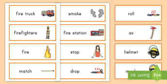 Fire Safety Word Cards - fire safety, fire safety word cards, fire safety week, fire, firefighters, safety, word cards