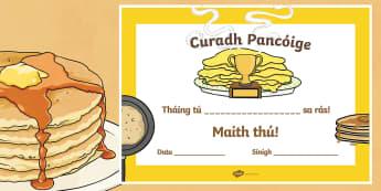 Pancake Tuesday Irish Certificate - Pancake Tuesday, Pancakes, Lent, Pancake Champion, Irish, Gaeilge, ROI,Irish, reward, well done