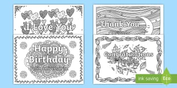 Greetings Mindfulness Colouring Pages English/Portuguese - mindful, mindfulness, colouring, colours, i love you, happy birthday, thank you, thanks, congratulat