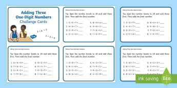 Add Three One-Digit Numbers Number Bonds to 10 Maths Challenge Cards - addition, number bonds to 10, friends of 10, mental strategy,Australia