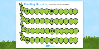 Counting on Worksheets Caterpillar 3s - counting, worksheets, caterpillar, 3s, times table