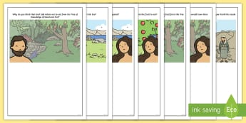 KS1 Adam and Eve Temptation Prompt Questions Writing Frames - Religious Education, R.E., RE, Bible, Creation Story, Christian beliefs, Come and See