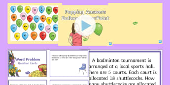 LKS2 Maths Word Problems and Popping Answers Balloon Activity - addition , subtraction, multiplication, division, fractions, written problems, using and applying, m