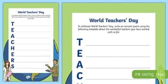 World Teachers' Day Acrostic Poem Worksheet / Activity Sheet-Irish, worksheet