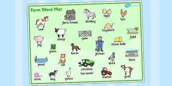 Set de mots : Les animaux de la ferme - Anglais LV - ferme, farm, vache, cow, cochon, pig, poule, chicken, canard, duck, old mac donald, chanson, song, comptine, cycle 1, cycle 2, anglais, langue vivante