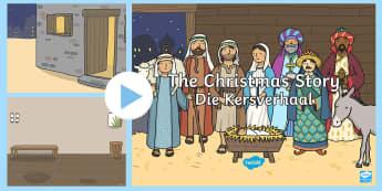 The Nativity Christmas Story Background PowerPoint English/Afrikaans - December, celebrate, Jesus, Bethlehem, Desember, fees, Betlehem, EAL