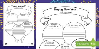 Happy New Year Activity Sheet English/Portuguese - Happy New Year Activity sheet - new year, worksheet, happy new year, happynewyear, new yeAT, NEW YAR