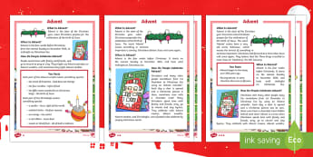 KS1 Advent Differentiated Reading Comprehension Activity - advent, Christmas, Nativity, Jesus, xmas, Xmas, Father Christmas, Santa, Advent, Advent calendar, Christians, religious, wreath, Christingles, celebration, event, reading, facts, information,