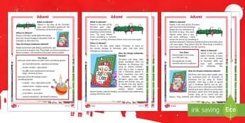 KS1 Advent Differentiated Reading Comprehension Activity - Christmas, Nativity, Jesus, xmas, Xmas, Father Christmas, Santa, Advent, Advent calendar, Christians