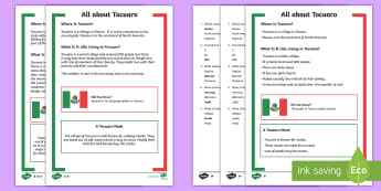 KS1 All About Tocuaro Differentiated Reading Comprehension Activity - Geography, Mexico, North America, Village, barnaby Bear