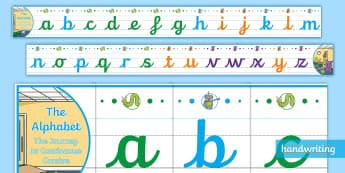 The Journey to Continuous Cursive Lower Case Display Alphabet Line - handwriting, alphabet frieze, penpals, nelson handwriting, letterjoin