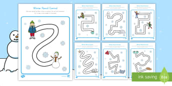 Winter Pencil Control Activity Sheets - winter, seasons, winter pencil control, pencil control, activity sheets, fine motor, tracing, worksh