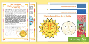African Folk Tales - Why the Sun and the Moon Live in the Sky Story Pack - African Folk Tales