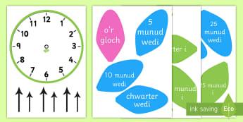 Labeli Cloc Analog Blodyn - Amser, Cyfnod Allweddol 2, CA2, Cyfnod Sylfaen, Mathemateg, time, amser, rhifedd, numeracy, dyddiol,