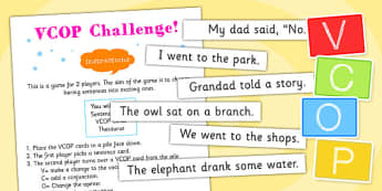 2 Player VCOP Challenge Game - VCOP challenge game, VCOP, VCOP activity, VCOP game, VCOP card game, 2 player VCOP game, ks2 literacy game, ks2 literacy