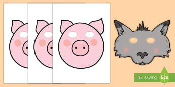 Three Little Pigs Role-Play Masks - role-play, masks, Three Little Pigs, traditional tales, imaginative play