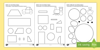 Shape Building Activity Sheet English/Romanian - shapes, shape, build, maths, numeracy, 2D shape, worksheet, circle, square, triangle, rectangle, EAL