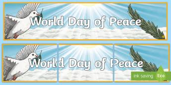 World Day of Peace Display Banner - Catholicism, Religion, Catholic Church, Feast, International Day of Peace,Scottish