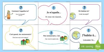 Expresii de bază în franceză Planșe - franceză, limbi, limba franceză, activități obționale, activități,Romanian