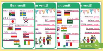 """""""Bun venit!"""" în diferite limbi Planșe - scoli internaționale, noul an școlar, septembrie, nou început,Romanian"""