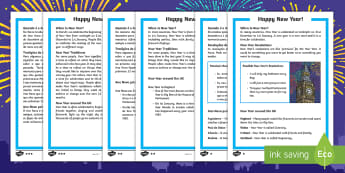 KS1 New Year Differentiated Reading Comprehension Activity English/Portuguese - KS1/2 New Year resources (January), 31st, 1st, December, January, resolution, celebration, new, new