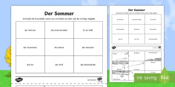 Summer Words Picture Activity German - Summer, Sommer, German, Deutsch, MFL, Vocabulary, Holiday, End of Year, Languages