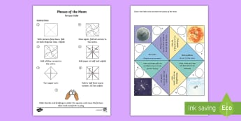 Moon Phases Fortune Teller Template - chatterbox, moon, waxing, waning, gibbous, crescent, ACSSU048, ACSSU019, Celestial observation, sky