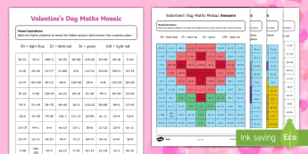 UKS2 Valentines Day Themed Mixed Operations Mosaics Activity Sheet - Valentine's Day,  Feb 14th, love, cupid, hearts, valentine, magical mosaics