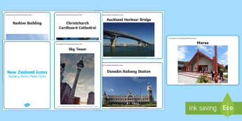New Zealand Icons Building Bricks Photo Cards - new zealand, buildings, landscape, models, architecture, places, famous, geography