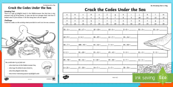 Crack the Code Under the Sea Activity Sheet - Amazing Fact Of The Day, june, activity sheets, powerpoint, starter, worksheet, morning activity, Ju