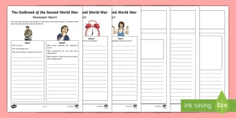 Outbreak of the Second World War Newspaper Report Writing Template - second world war, history, people in past societies, homefront, chamberlain, hitler, nazis,Scottish