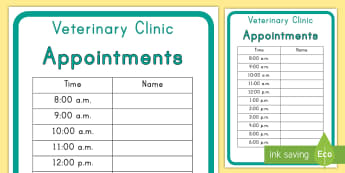 Veterinary Hospital Appointment Form - vets, pets, hospital, role-play, appointments