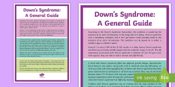 Down's Syndrome: A General Guide - Downs, Syndrome, SEN, Chromosome, support