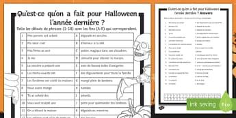 Halloween Perfect Tense Match Up Activity Sheet, worksheet