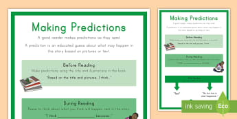 Making Predictions Display Poster - Before reading, after reading, during reading, reading, literature, inference