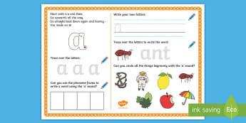 UAE EY 'a' Sound Activity Mat - Letters and Sounds, grapheme, phoneme, satpin, letter formation, handwriting, EYFS, Early Years, Dub