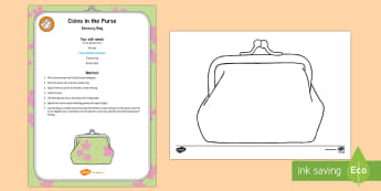Coins in the Purse Sensory Bag - purse, coins, one pence, penny, sensory play, mess-free play, table top activity, fine motor control