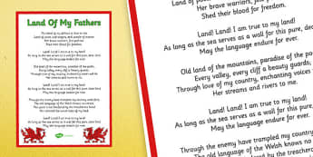 Welsh National Anthem Poster with English Lyrics - welsh, national anthem, poster, display, english, lyrics