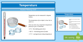 Sixth Class Temperature Fact Cards - temperature, directed numbers, facts, cards, memory, learning log, maths journal,Irish