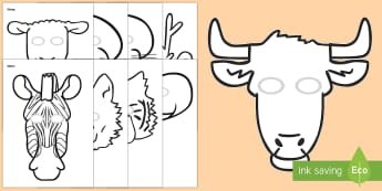 animal masks to colour - - animal masks, role play,