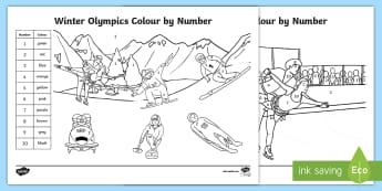 KS1 Winter Olympics Colour by Number Colouring Pages - recognising numbers, colouring in, olympics colouring, 2018, Y1 and Y2