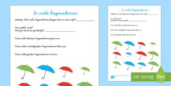 So viele Regenschirme Arbeitsblatt: Erstes Zählen - Frühling, Jahreszeit, Wetter, Regenschirm, zählen, Größe, spring, seasons, weather, umbrella, co