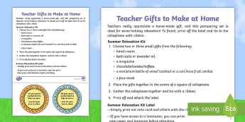 Holiday Relaxation Kit Teacher Gift Step-by-Step Instructions - end of year, present, thanks, teacher, parents